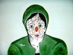 Look sir, I think there's a spider on my face. (Saheli!) Tags: green rotting beauty face spider acrylic web innocence