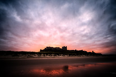 Bamburgh Castle - Sunday 1st December (Squady) Tags: sunset reflection beach clouds colours cloudporn
