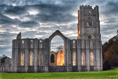 Fountains Abbey Illuminated (Dave Snowdon (Wipeout Dave)) Tags: building heritage history architecture unescoworldheritagesite fountainsabbey nationaltrust northyorkshire ripon studleyroyal studleyroyalpark wipeoutdave snapseed djs2013 davidsnowdonphotography