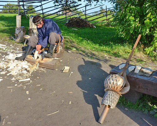 Shingle cutting demonstration, Kizhi Pogost, Northern Russia