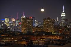 Moonrise over NYC (David Pirmann) Tags: newyorkcity skyline newjersey moonrise hoboken viewfromhoboken
