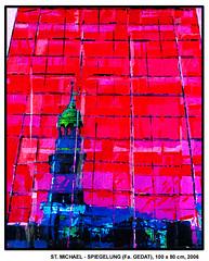 für GEDAT: ST. MICHAEL, GESPIEGELT (CHRISTIAN DAMERIUS - KUNSTGALERIE HAMBURG) Tags: orange berlin rot silhouette modern strand deutschland see licht stillleben dock gesicht meer wasser foto fenster räume hamburg herbst felder wolken haus technik porträt menschen container gelb stadt grün blau ufer hafen fluss landungsbrücken wald nordsee bäume ostsee schatten spiegelung schwarz elbe horizont bilder schiffe ausstellung schleswigholstein figuren frühling landschaften wellen häuser kräne acrylbilder realistisch nordart acrylmalerei acrylgemälde auftragsmalerei auftragsbilder kunstausschreibungen kunstwettbewerbe auftragsmalereihamburg hamburgerkünstler kunstgaleriehamburg galerieninhamburg acrylbilderhamburg virtuellegaleriehamburg acrylmalereihamburg