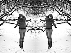 twins (zsuzsmo) Tags: winter portrait blackandwhite bw white selfportrait snow black cold girl self canon eos rebel 50mm blackwhite jump twins 14 budapest snowing dreads dreadlock zsuzsi vold 550d t2i canon550d zsuzsmo drg drgzsuzsi 2014winter