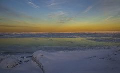 Grand Lake Michigan Winter (olsonj) Tags: winter sunset snow chicago ice illinois lakemichigan