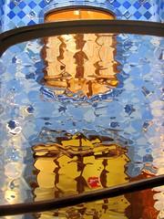 Golden and blue impression in Casa Batlló by A. Gaudi - Barcelona (Sokleine) Tags: barcelona blue white faïence spain ceramics catalonia bleu espana artnouveau tiles gaudi transparency espagne blanc casabatllo unescoworldheritage barcelone balustrade catalogne catalanmodernism buildingwell