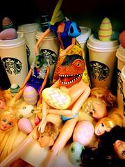 Day 110 of 365 - Happy Easter! (sluggoman) Tags: coffee easter dinosaur coffeecup ken barbie starbucks mug easteregg 365days 365daysproject