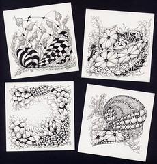 Zentangles 21 22 23 24 © (Framboisine Berry) Tags: france art pen ink tile sketch artist drawing bretagne dessin draw tangle artiste zentangle locquénolé framboisineberry