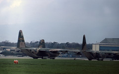 USAF MAC C-130 Hercules transports lining up for take off at Frankfurt (heathrow.junkie) Tags: mac frankfurt usaf hercules c130