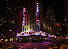 Radio City Music Hall (fantommst) Tags: city nyc music usa ny newyork night radio lights hall us neon intersection lisaridings fantommst