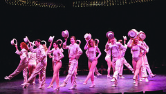 """Cast members perform """"One"""" in A Chorus Line, produced by Music Circus at the Wells Fargo Pavilion June 24 – 29, 2014. Photos by Charr Crail."""