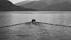 Across Loch Lomond (brightondj - getting the most from a cheap compact) Tags: fourthwalk inversnaid trossachs scotland bw lochlomond boat waves water