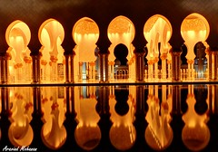 Reflections-Lights and Shadows-Symmetry-Architecture (Aravind Mohanan) Tags: grand mosque reflections lights shadows night hdr architecture yellow orange dof sparkle