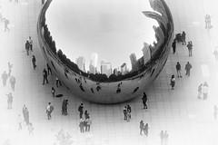 The Bean (mckenziemedia) Tags: chicago city urban illinois cloudgate sculpture people tourists pedestrians blackandwhite monochrome reflection skyline sky architecture canon 5d markiii 100400mm