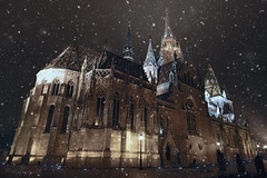 christmas came early (cherryspicks (intermittently on/off)) Tags: architecture church matthiaschurch budapest catholic hungary fishermansbastion buda gothic building medieval snow night dark winter wow travel