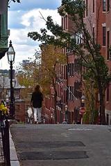 Down Myrtle Street (1) (AntyDiluvian) Tags: boston massachusetts hill beaconhill street myrtlestreet lamp streetlamp