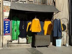 (kucukalpi) Tags: market street raincoat blue green yellow eminonu istanbul mobilephotography iphone