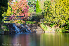 Pink Reflection (judethedude73) Tags: still water lake parkland nature bridge longexposure waterfall autumnal autumn colours color
