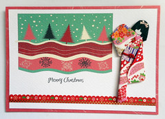 Christmas card 9_2016 (tengds) Tags: christmascard card handmadecard red white pink trees green maroon snow snowflakes japanesepaperdoll washidoll origamidoll ningyo geisha japanese asian flowers kimono obi japanesepaper yuzenwashi washi origamipaper chiyogami nailartsticker nailsticker papercraft tengds