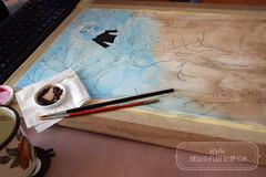 On the desk today! (The Girl with the Flaxen Hair) Tags: natiart illustration wip workinprogress artistsonflickr paintinginprogress artprocess watercolor painting animemanga studio desk workshop