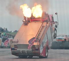 Santa Pod Flame & Thunder October 2016 (407) (Bristol Viewfinder) Tags: backdraft wheeliefiretruck ultimatemotorstunts pirelli monster trucks swampthing podzilla santapod