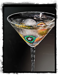 Martini in Art Glass (Jeri Mearns) Tags: painted martini cocktail olives printed beachclub framed kiawahisland southcarolina unitedstates us