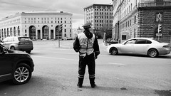 Law & Order (Ktoine) Tags: police cars trafic traffic lubyanka blackandwhite moscow russia city street architecture officer circulation uniform