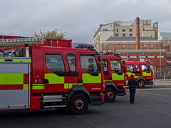 Three NIFRS Volvo FL Appliances, October 2016 (nathanlawrence785) Tags: nifrs nifb psni ruc police fire service northern ireland truck engine appliance battenburg red yellow white dog canine land rover defender rosenbauer airport bhd egac volvo fm fl foam