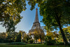Eiffel Contrast (Quentin K) Tags: paris france fall color contrast eiffel tower park green leaf leaves tree
