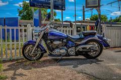 Yamaha XV1900A Midnight Star - HDR (gilles_t75) Tags: d5300 france gillest hdr nikkor1855mmf3556 nikon bracketing exposurefusion highdynamicrange photohdr photomatix tonemapping yamaha xv1900a midnightstar moto cruiser custom gare train