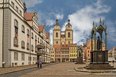 Wittenberg Town Square (Bob C Images) Tags: wittenberg germany townsquare plazas sky statues martin luther rathaus town hall schlosskirche church cathedral architecture buildings landscapes