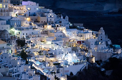 Fira Town at Night (c h r i s t o s) Tags: santorini thira greece island greek whitewashed church mediterranean sea hill volcano slope sloping smimmingpool cyclades bluehour
