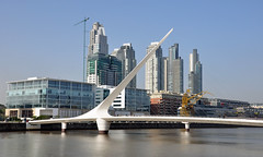 Puente de la Mujer, Puerto Madero, Buenos Aires (ollygringo) Tags: travel bridge tourism southamerica water argentina skyline architecture modern port docks puente buenosaires waterfront skyscrapers footbridge crane capital landmark highrise docklands puertomadero sights riverplate towerblocks puentedelamujer rodelaplata capitalcity