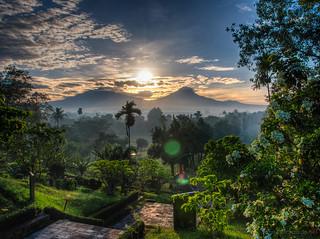 Sunrise on Merbabu and Merapi volcanos