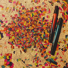 Cube Drawing In Process (Eri King) Tags: color art geometric illustration pen ink design artist drawing contemporaryart line math marker process prismacolor visual visualart prisma prismamarker geometricdrawing