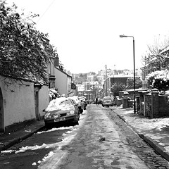 Richmond Road (alicethewhale) Tags: uk winter blackandwhite snow cold 120 6x6 film ice bristol square kodak january hasselblad richmondroad montpelier kodaktrix400 hasselbladcm