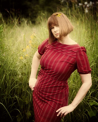 Me - Untitled (The Shutterbug Eye) Tags: red portrait woman selfportrait nature lady self outside one sassy redhead prairie vintagedress bobbedhair retroinspired