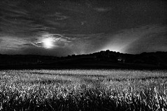 Approaching Mordor by Moonlight (Entropic Remnants) Tags: pictures blackandwhite bw white black night outdoors photography photo fuji image photos pics picture pic images photographs fantasy photograph grainy starry remnants entropic x100 fujiflim