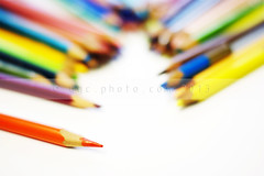 all the colors (ggcphoto) Tags: wood ireland horizontal table creativity photography rainbow colours spectrum nopeople indoors simplicity material choice variation colouredpencils largegroupofobjects colourimage artandcraftequipment usedcoloredpencils