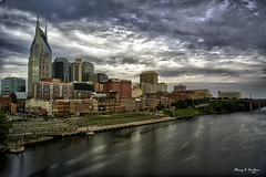 Nashville Skyline HDR (Stacey A Sanborn) Tags: camera city storm art water skyline clouds photoshop nashville tennessee nik dslr hdr edit femalephotographer sonyalpha hdrterrorist bestcapturesaoi sonya33 bestofblinkwinners