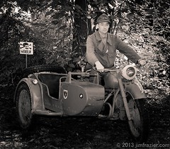 BMW II (Jim Frazier) Tags: summer portrait people blackandwhite bw man male men cars monochrome metal sepia vintage illinois war uniform iron mechanical jeeps action steel candid military wwii caps hats motorcycles battle guys september il equipment machinery vehicles worldwarii portraiture transportation bmw ww2 violence conflict soldiers warriors desaturated machines battlefield combat reenactment worldwar automobiles reenactors q3 apparatus rockford worldwar2 devices reenacting warfare oldified reenactments midwayvillage 2013 5000people midwayvillagemuseum ldoctober jimfraziercom adifferentpersona wmembed ld2013 20130921wwiidays