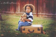 (Krista Cordova Photography) Tags: boy fall kids children brother teddybear suitcase greengrass cutekids hispanicchildren africanamericanchildren