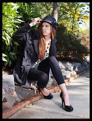 Merrill - Don't Look Now (jfinite) Tags: autumn fall beauty hat fashion model legs environmental portraiture heels leggings