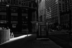 morning downtown (zip po) Tags: morning light shadow blackandwhite newyork monochrome mono scooter bnw