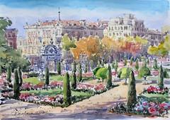 Retiro Madrid (P.Barahona) Tags: madrid acuarela jardines rotulador