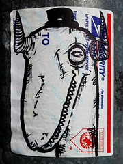 Dinosaur Hat (~db~) Tags: california blue red urban usa streetart art hat america writing la words losangeles sticker downtown unitedstates dinosaur label text letters stickers horns socal postal downtownla publicart usps dtla postalservice s6100100dscn6897