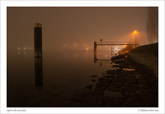 night on the river bank (ekkiPics) Tags: longexposure light mist fog night river pier nikon mood nebel post nacht harbour framed piers pillar bank strasbourg le friday pillars rhine rhein sodium kehl rhin theflickrlounge ellenburg52weeks alphabethpq d80fenced