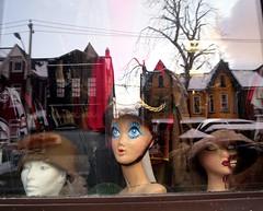 Fashionable Trio (Georgie_grrl) Tags: toronto ontario mannequin reflections flashback heads kensingtonmarket windowdisplay busts fashionable canonpowershotelph330hs thenewdarkpinkside