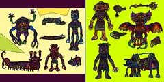 Assorted Creatures, Set 132 (Moleman9000) Tags: animal animals monster insect colorful desert drawing alien bat aliens fantasy figure beast warrior monsters creatures creature humanoid scifi moleman9000