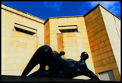 Leeds-UK (plismo) Tags: city uk england urban sculpture building art yellow wall architecture modern composition gold downtown colours angle bricks leeds perspective angles henrymoore plismo