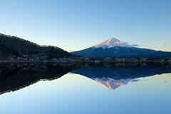 Mirror Mirror (Paul in Japan) Tags: winter mountain lake snow reflection sunrise landscape dawn volcano mirror fuji mount cap kawaguchi yamanashi yama kawaguchiko